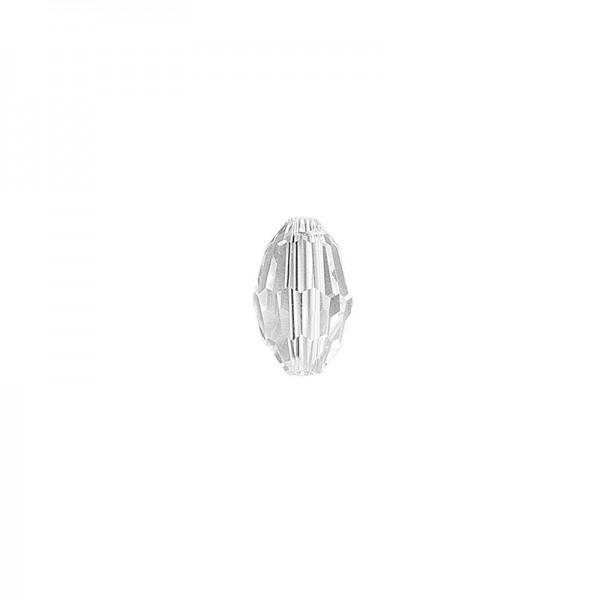 Glaskunst, Perlen, Oval, 0,8cm x 1,1cm, facettiert, klar, 28 Stück