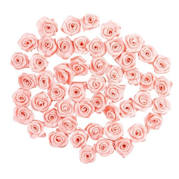 Satinrosen, Ø 1,5cm, seidenglänzend, rosé, 50 Stück