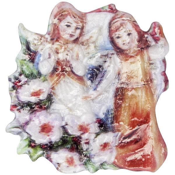 Wachsornament Engel 3, farbig, geprägt, 7cm