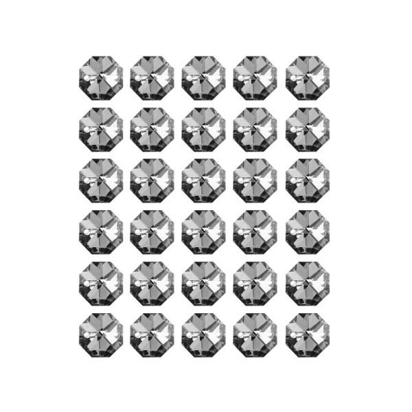Glaskunst, Koppen, Octagon, Ø 1,4cm, facettiert, klar anthrazit/silberfarbene Rückseite, 30 Stück