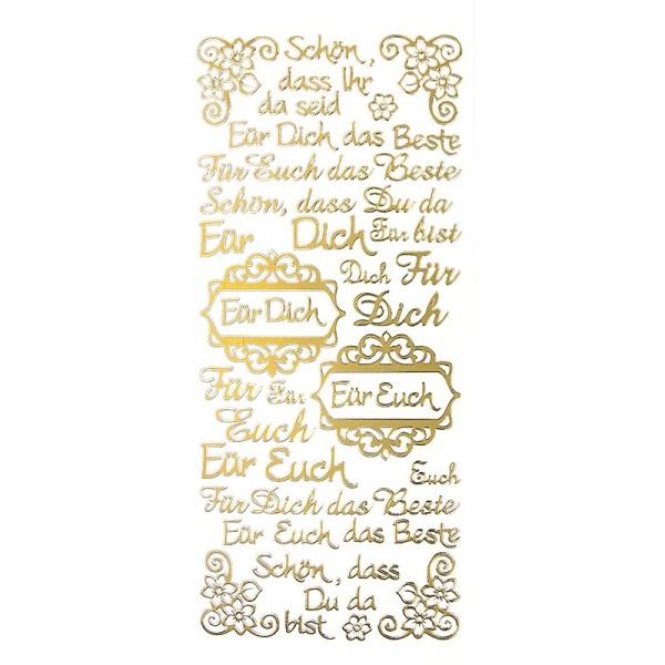 """Sticker, Schriften, """"Für Dich/Euch"""", uvm., Perlmuttfolie, gold"""