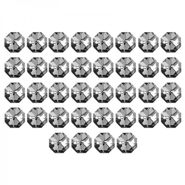Glaskunst, Koppen, Octagon, Ø 1,2cm, facettiert, anthrazit/silberfarbene Rückseite, 36 Stück