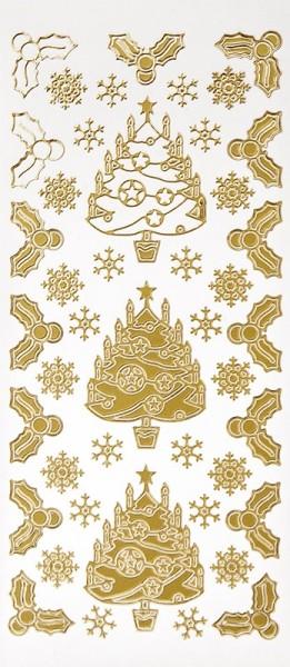 Sticker, Weihnachtsbäume & Ilex, Perlmuttfolie, gold