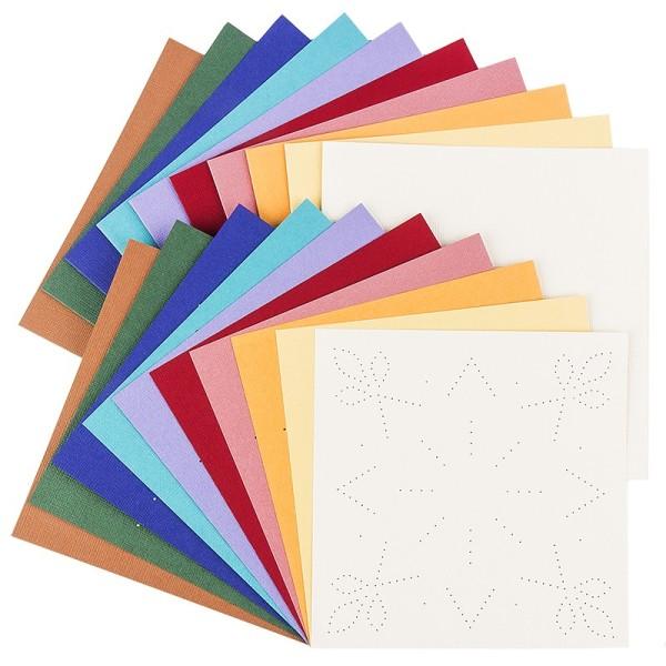 """Fadengrafik-Grußkarten """"Stern 3"""", Leinen-Optik, 16x16cm, 10 Farben, inkl. Umschläge, 10 Stück"""