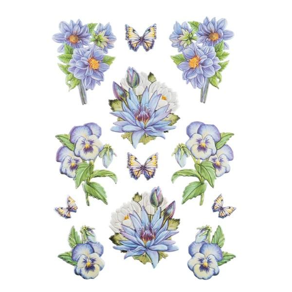 3-D Relief-Sticker, Blaue Blüten 1, verschiedene Größen, selbstklebend