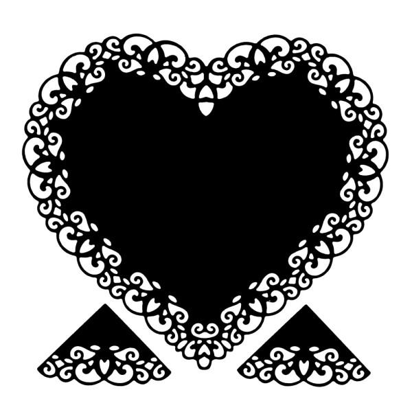 Stanzschablonen, Herz mit Eckornamenten, 3 Stück