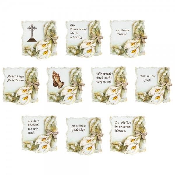 3-D Motive, Trauer, Gold-Gravur, 8cm x 8cm, 10 Motive