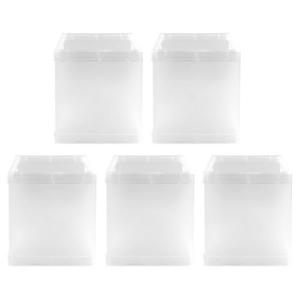 Tisch-Laternen, Quadrat, 10cm hoch, transparent-weiß, 5 Stück
