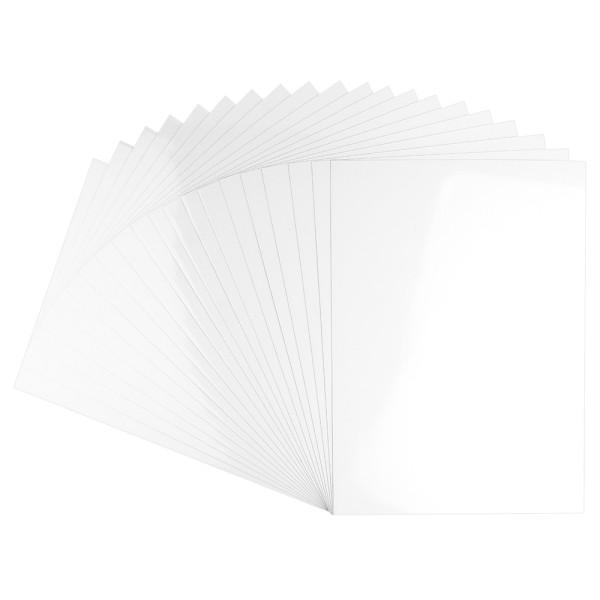 Glossy-Karton, DIN A4, 200 g/m², weiß, selbstklebend, 20 Bogen
