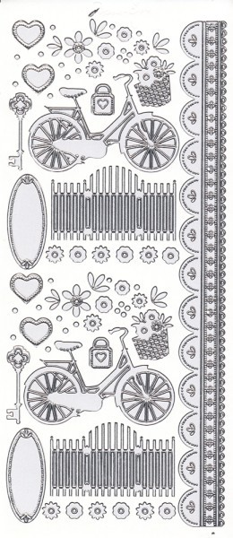 """Sticker, """"Marie Eve Bikes"""", Fahrrad, Perlmuttfolie, Silberkontur"""