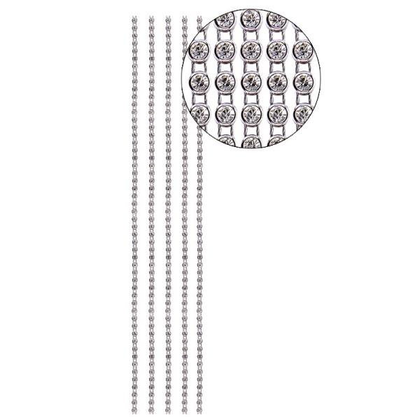 Premium-Schmuck-Bordüren Jolina, 29cm, mit Glas-Kristallen, silber