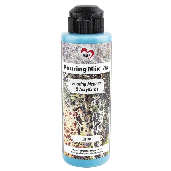Pouring Mix, 2 in 1, Pouring Medium & Acrylfarbe, türkis, 180ml