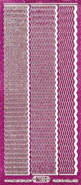 Microglitter-Sticker, Wellen-Linien, 3 Breiten, pink