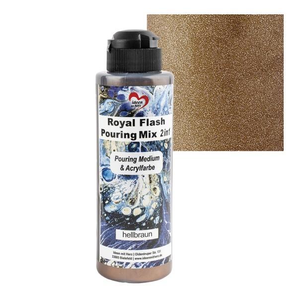 Royal Flash Pouring Mix, 2 in 1, Pouring Medium & Acrylfarbe, hellbraun, 180ml