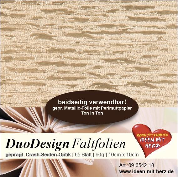 DuoDesign Faltfolien, Seiden-Optik, 10 x 10 cm, 65 Blatt, sand
