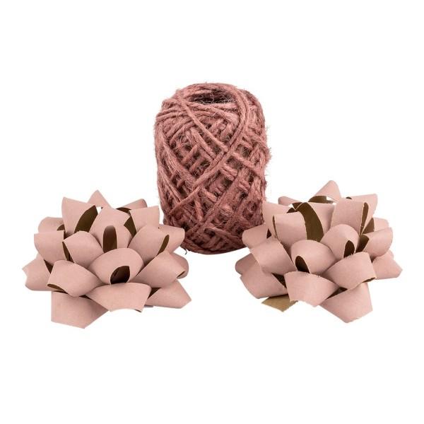 Geschenkband- & Schleifen-Mix, Jute & Kraftpapier, 2 Schleifen, 1 Geschenkband, Rosatöne