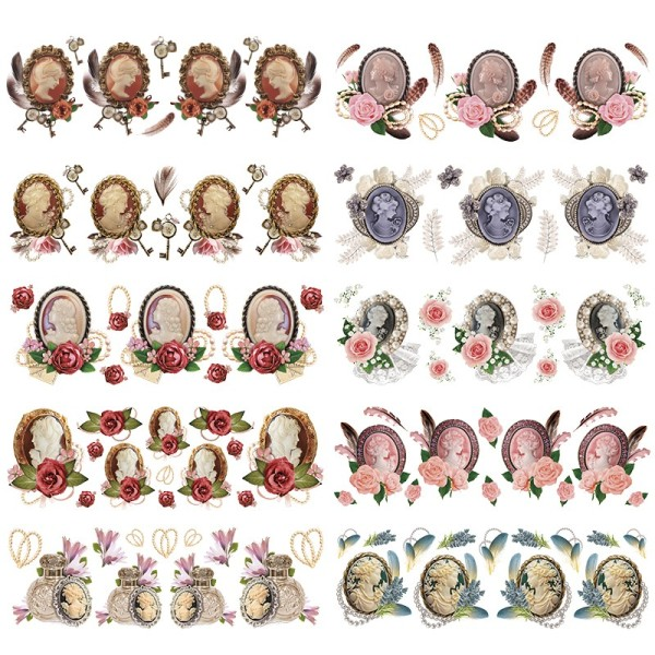 Transparent-Stickerbogen, Broschen, verschiedene Designs, 10cm x 30cm, 10 Bogen