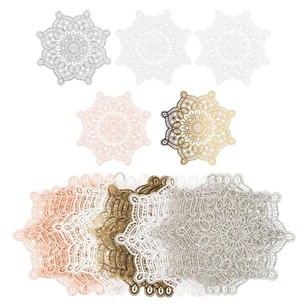 Laser-Kartenaufleger, Zierdeckchen, Ornament 4, Ø 14cm, 220 g/m², 5 Farben, 20 Stück