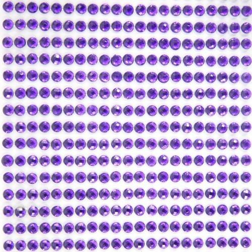 Glitzerstein-Bordüren, selbstklebend, Ø4mm, 9cm, violett, 49Stk