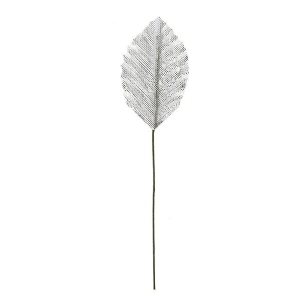 Deko-Blätter am Draht, 4,5cm x 2,8cm, silber, 20 Stück