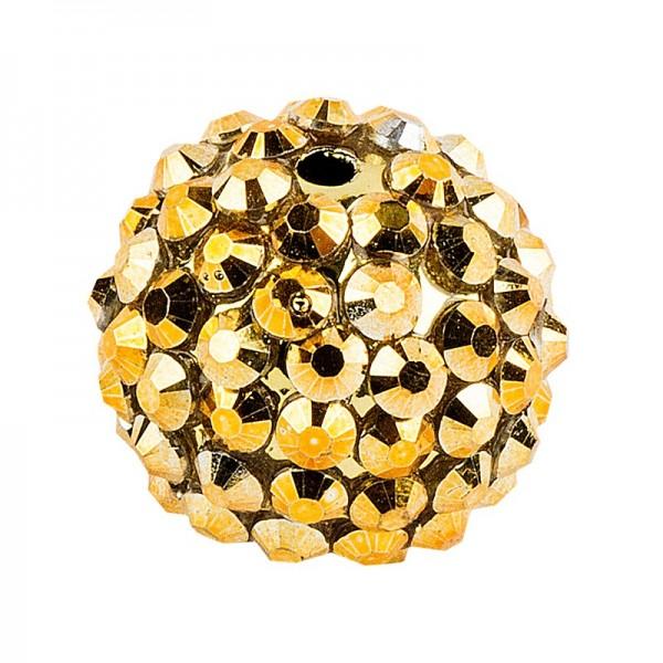 Kristall-Perlen, Ø 14mm, gold, 10 Stück