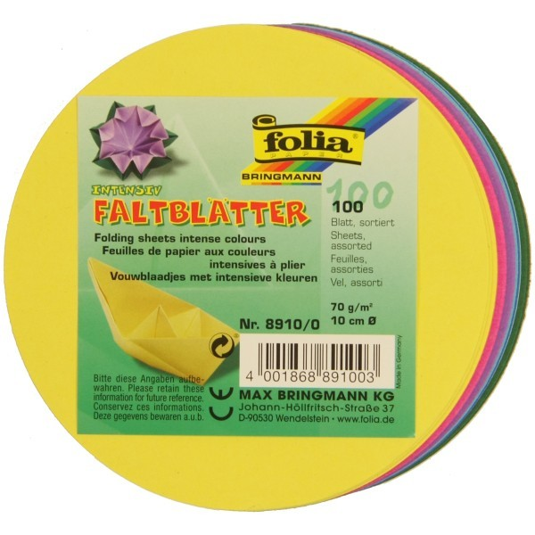 Folia Intenstiv Faltblätter, rund, Ø 10 cm, 100 Blatt