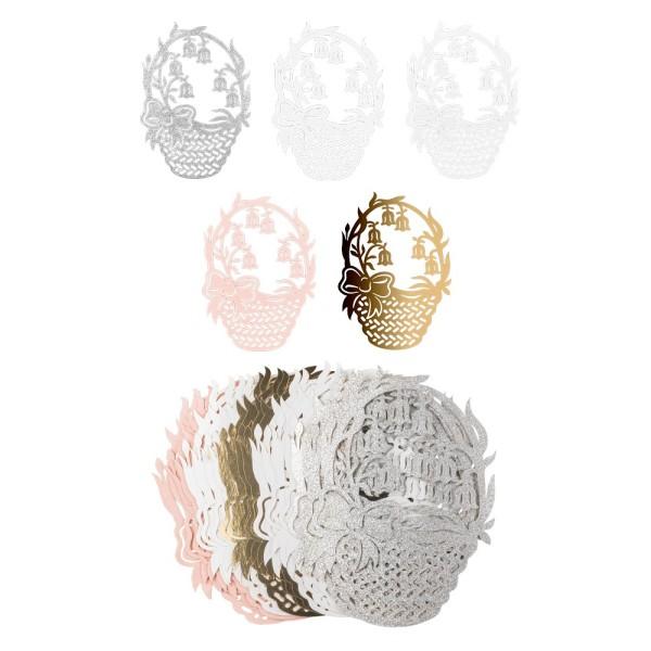 Laser-Kartenaufleger, Blumenkorb, 14,5cm x 10,7cm, 220 g/m², 5 Farben, 20 Stück