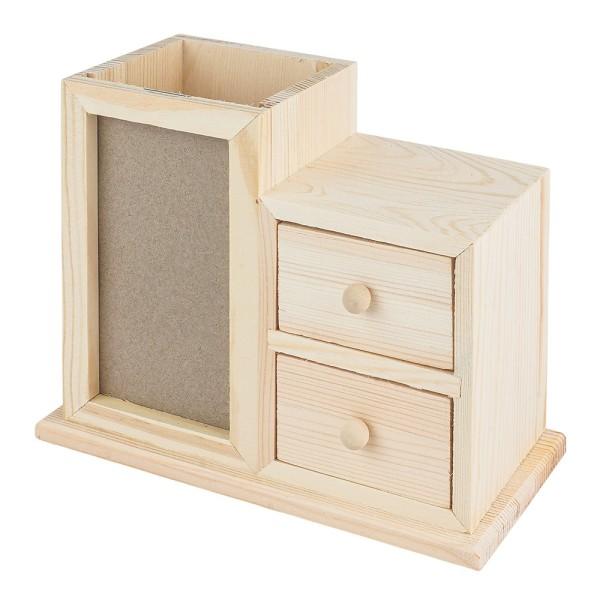 Schreibtisch-Organizer, Holz, inkl. Behälter für Stifte, 2 Schubladen & Fotorahm