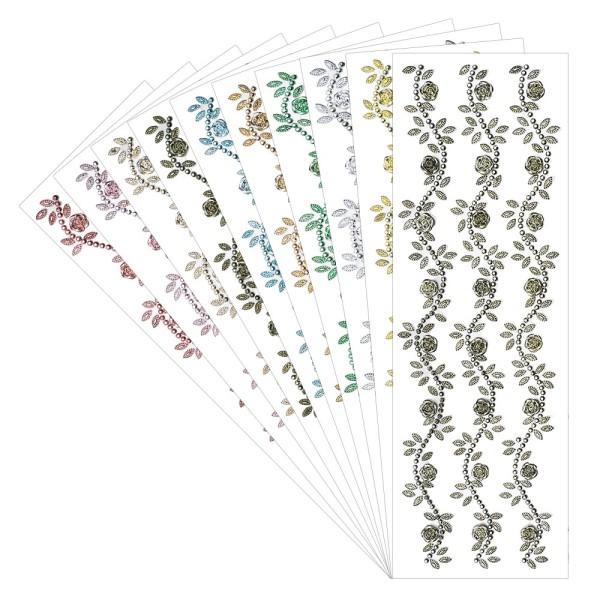 Schmuckstein-Bordüren Rose, 10cm x 30cm, selbstklebend, 10 Metallic-Farben, 10 Bogen
