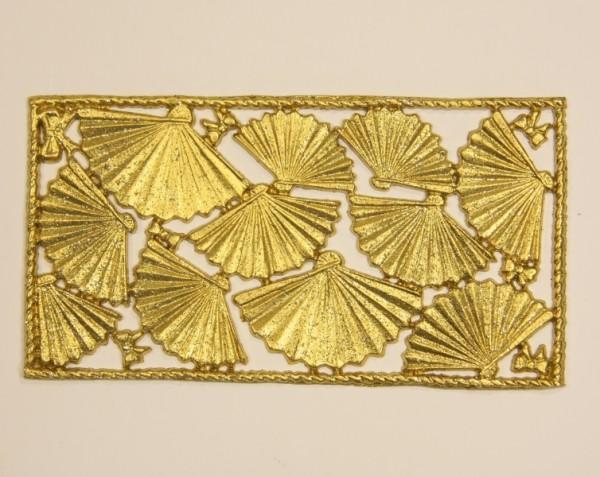 Wachsornament-Platte Fächer, 16 x 8 cm, gold mit Glimmer