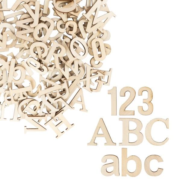 Buchstaben & Zahlen, Holz, Groß- und Kleinbuchstaben A-Z, Zahlen 0-9, 124 Stück