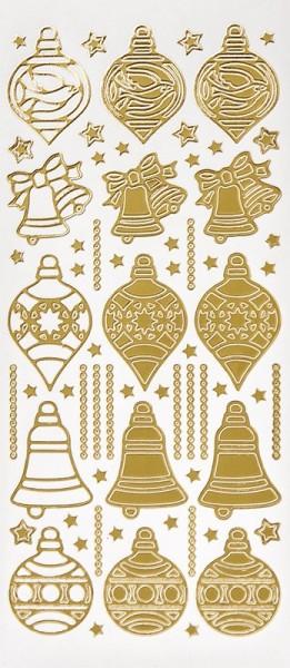 Sticker, Weihnachtskugeln & Glocken, Perlmuttfolie, gold