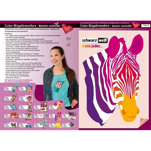 Color Bügeltransfers, DIN A4, Bastelspruch, Zebra