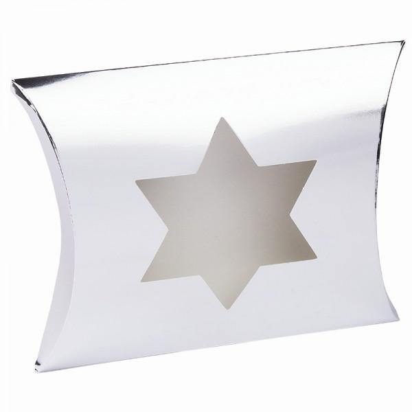 Kissentaschen mit Stern-Ausstanzung, 14cm x 15cm x 11,5cm, Spiegelkarton, silber, 10 Stück