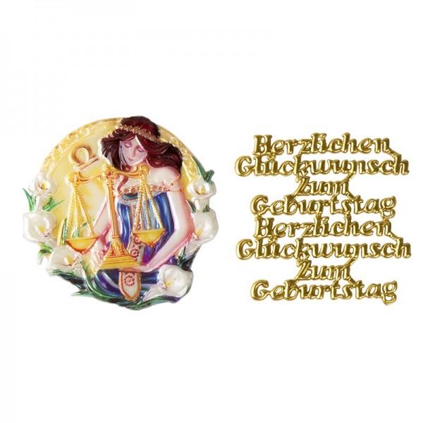 Wachsornamente, Sternzeichen Waage & Herzlichen Glückwunsch, 2 Stück