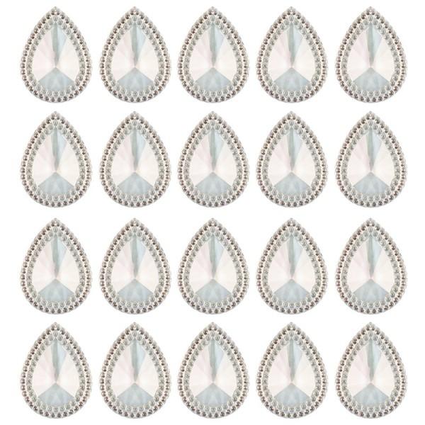 Kristallkunst-Schmucksteine, Tropfen 3, 4cm x 3cm, klar irisierend, 20 Stück