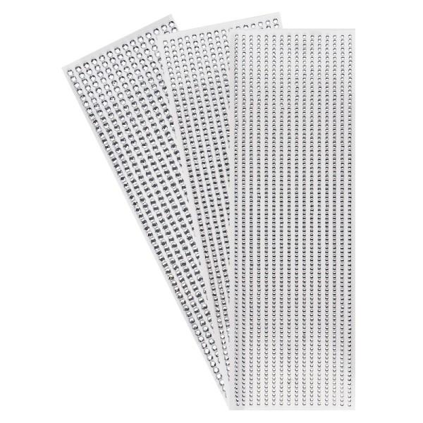 Schmuckstein-Bordüren, rund: Ø 3mm, Ø 4mm, Ø 5mm, selbstklebend, facettiert, klar, 3 Bogen