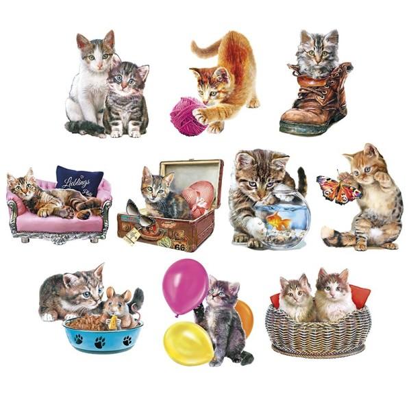 3-D Motive, Niedliche Katzen, 6,5-9,2cm, 10 Motive