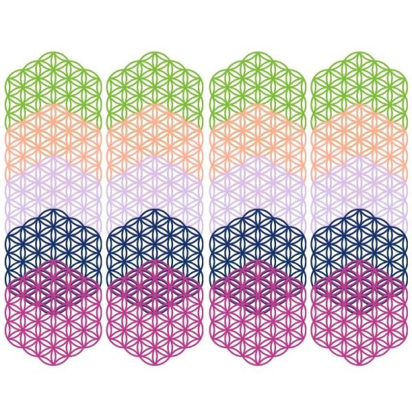 Laser-Kartenaufleger, Blume des Lebens, 12cm x 13cm, 5 Farbtöne, 20 Stück
