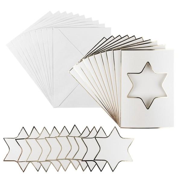 3-Fach Grußkarten, Passepartout Stern, B6, Naturweiß, inkl. Umschläge, 10 Stück
