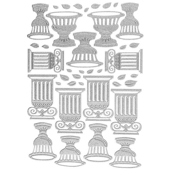 """3-D Sticker """"Deluxe Amphoren & Säulen"""", verschiedene Größen, selbstklebend, silber"""