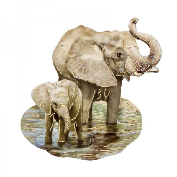 3-D Motiv, Elefanten, Gold-Gravur & Glimmerlack, 8 cm