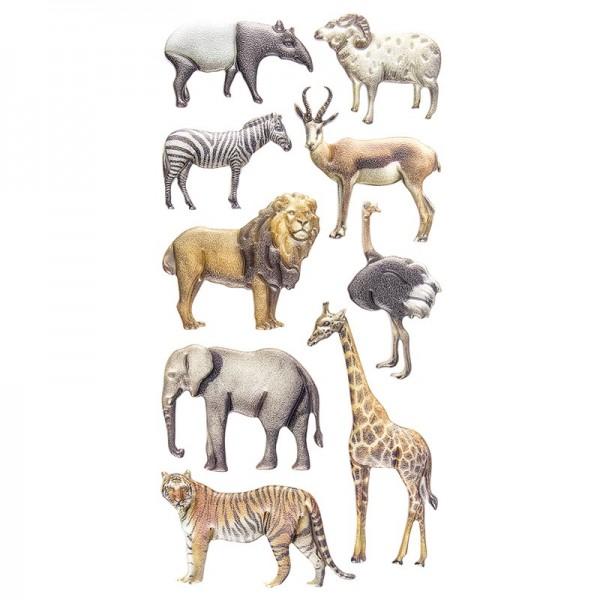 Relief-Sticker, Exotische Tiere, 17,5cm x 9cm