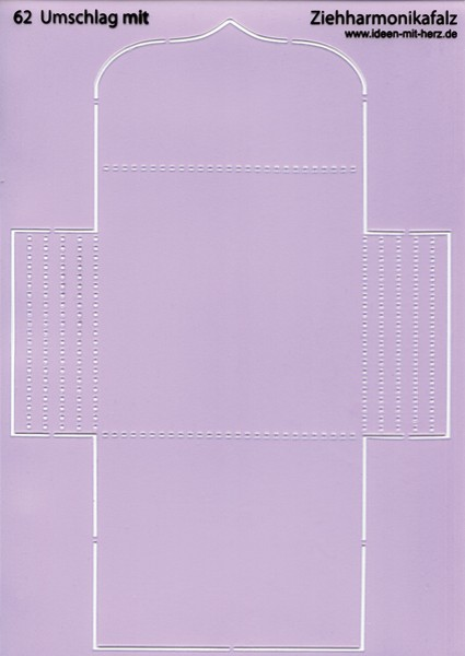 """Design-Schablone Nr. 62 """"Umschlag mit Ziehharmonikafalz"""", DIN A4"""