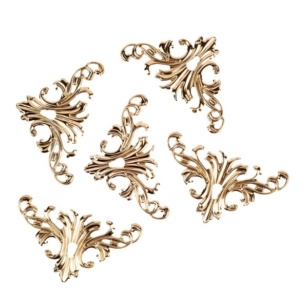 Metall-Ornamente, Design 3, 8cm x 4,5cm, roségold, 5 Stück