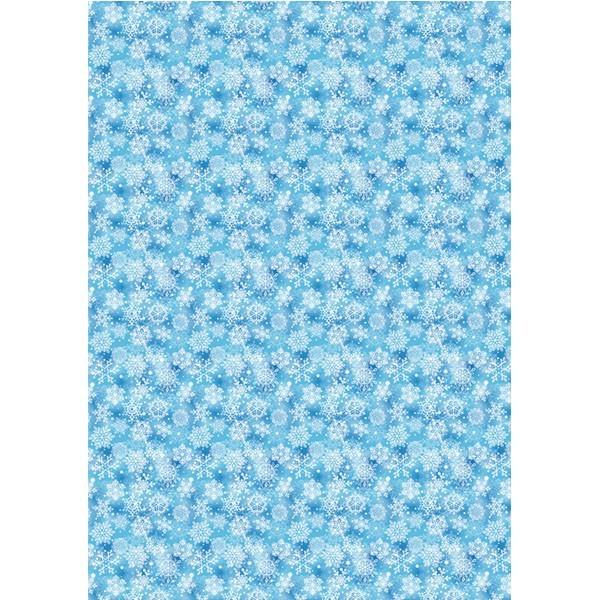Deko-Karton, hochglanz, DIN A4, Eiskristall-Design, blau