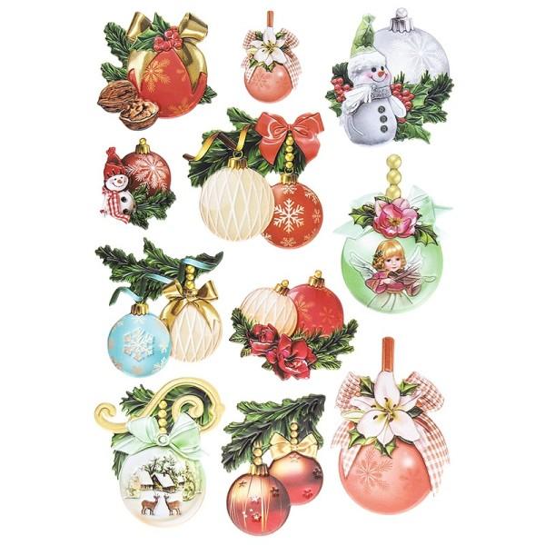 3-D Relief-Sticker, Weihnachtskugeln, verschiedene Größe, selbstklebend
