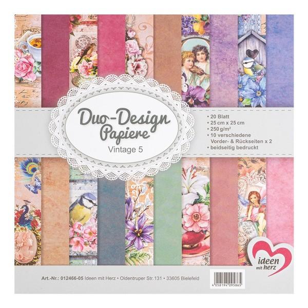 Duo-Design-Papiere, Vintage 5, beidseitig bedruckt, 25cm x 25cm, 250g/m², 20 Blatt