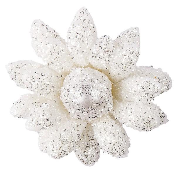 Deko-Blüten, Frosty 1, 30g, weiß mit Glitzer
