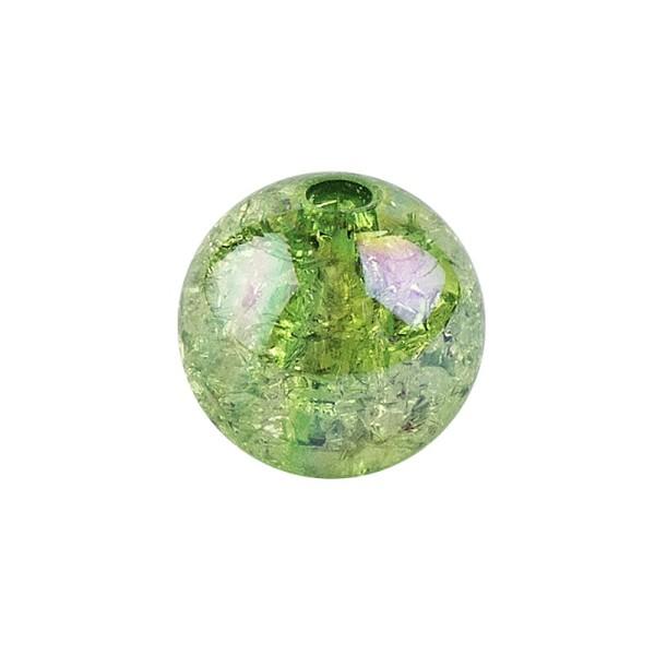 Perlen, Crackle, Ø 8mm, grün-irisierend, 100 Stk.